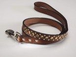 Brown Leather Dog Lead with Gold Swarovski Crystals 3/4