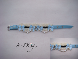 Leather Dog Collar with a Pearl Chain and Crystals