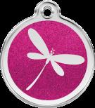 Hot Pink Glitter Enamel Tag - Dragonfly