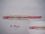 Leather Dog Collar - Pearl Chain
