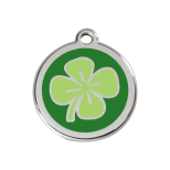 Green Enamel Tag - Four Leaf Clover