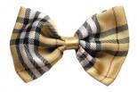Cream Plaid Dog Bow Tie