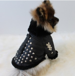 Black Silver Studded Genuine Leather Shearling Jacket