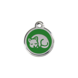 Green Enamel Tag - Kitten