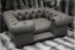 Balmoral Chesterfield Designer Pet Sofa - Grey Leather