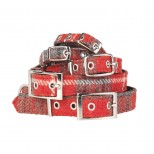 Red Tartan Harris Tweed Dog Collar