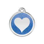 Dark Blue Glitter Enamel Tag - Heart