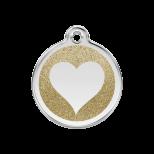 Gold Glitter Enamel Tag - Heart
