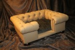 Balmoral Chesterfield Designer Pet Sofa - Tan Faux Leather with Beaver Faux Fur