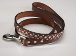 Brown Leather Dog Lead with Pink Swarovski Crystals 3/4