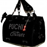 Designer black couture pet carrier