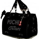 Designer black couture pet carrier
