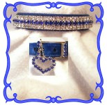 Royal Blue Velvet Dog Collar with Swarovski Crystals