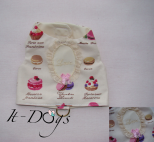 Cotton Dog Harness in Macaroon Print with 'Love'