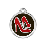 Glitter Enamel Tag - Red Shoe on Black