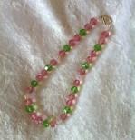 Pink / Peridot Dog Necklace